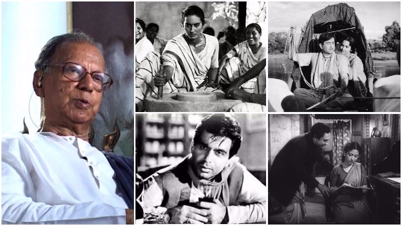 Nabendu Ghosh (L); Stills from Bandini, Teesri Kasam, Parineeta, Devdas