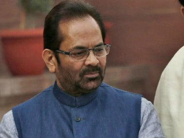 File photo of Union minister Mukhtar Abbas Naqvi. News18