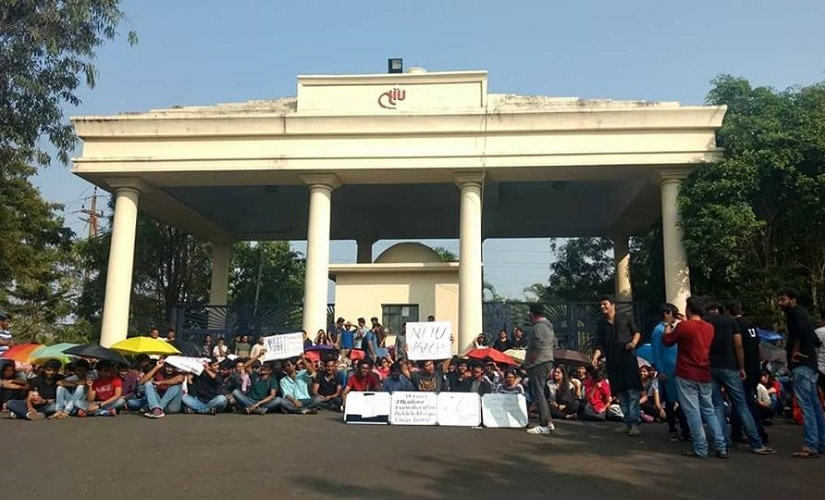 More than 400 students of the National Law Institute University (NLIU) Bhopal, are staging a high-pitched protest. Image procured by author.