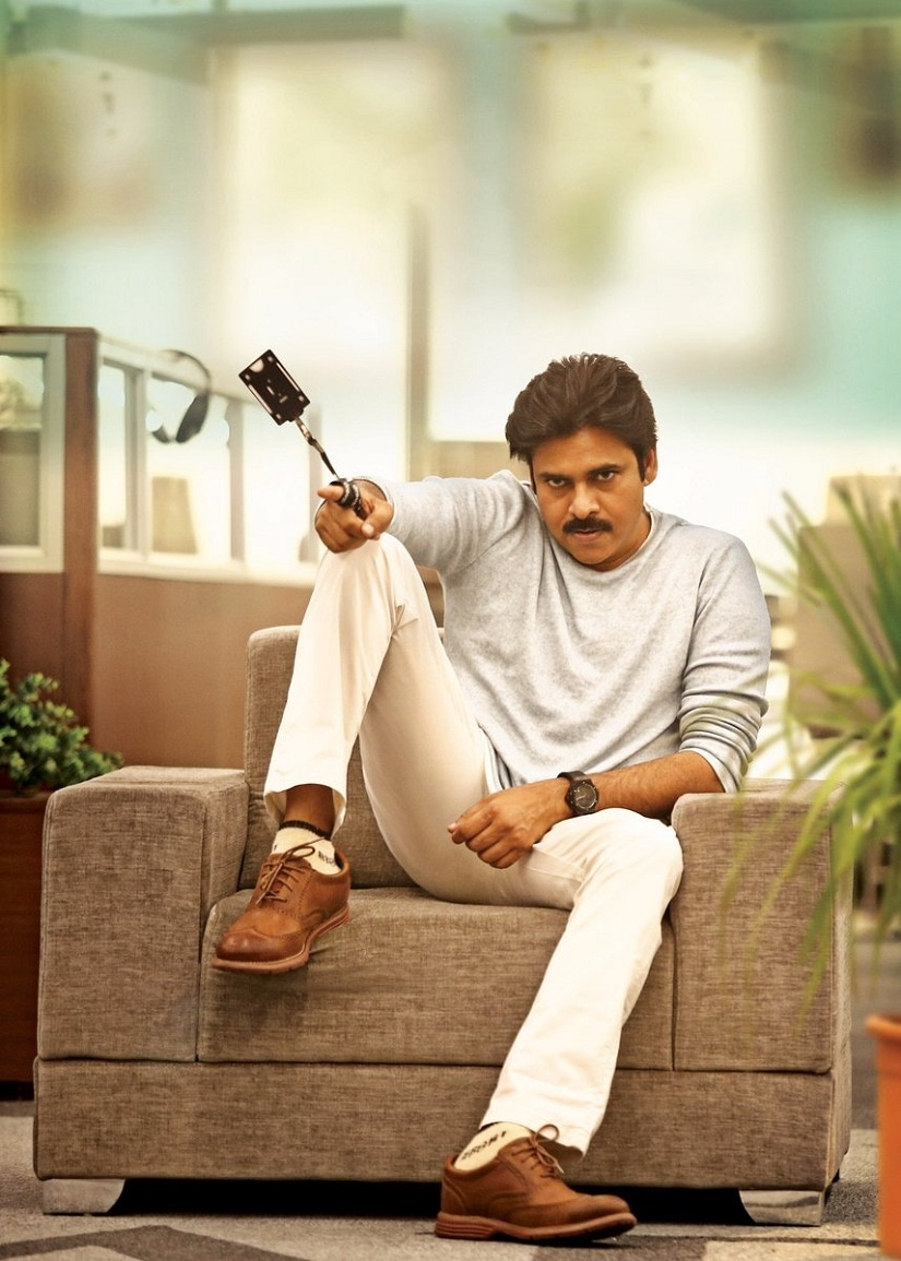 Pawan Kalyan in the first look of . Image from Twitter/@haarikahassine