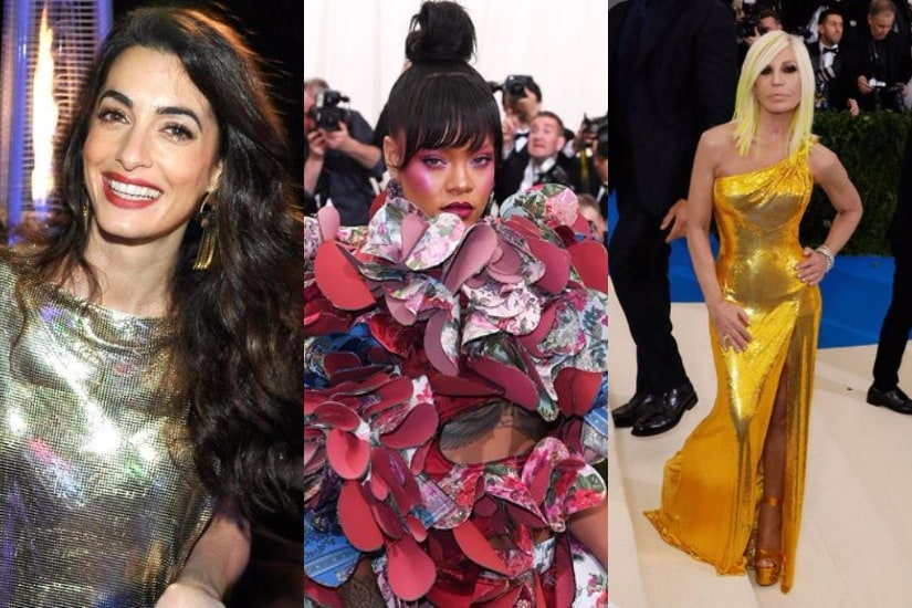 Amal Clooney-Rihanna-Donatella Versace. Images from Twitter.