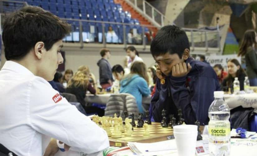 Praggnanandhaa in his ninth round game against Aryan Tari. Romualdo Vitale