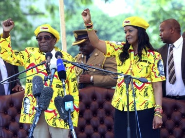 File photo of Zimbabwe's President Robert Mugabe and his wife Grace. AP