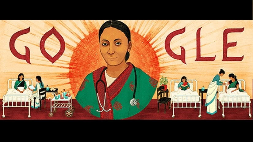The Google Doodle commemorating Rukhmabai Raut's 153rd birthday