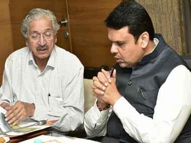 Maharashtra industries minister Subhash Desai with Chief Minister Devendra Fadnavis. News18