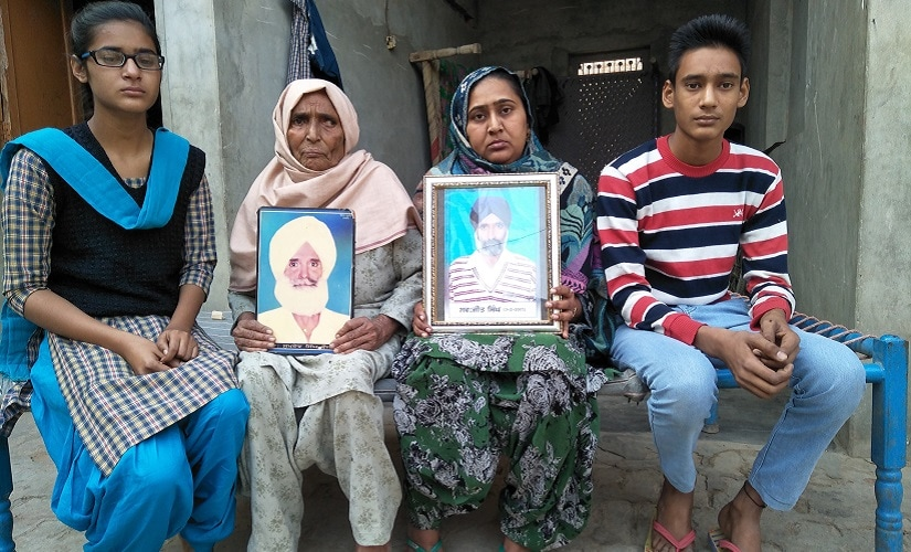 Veerpal Kaur, 33, a resident of Tamkot village with her family. Image courtesy Sat Singh