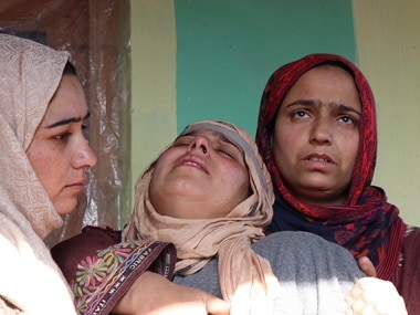 The wailing mother of Asif Iqbal Bhat in her home in Thindpura, Kupwara, Kashmir. Picture: Sameer Yasir