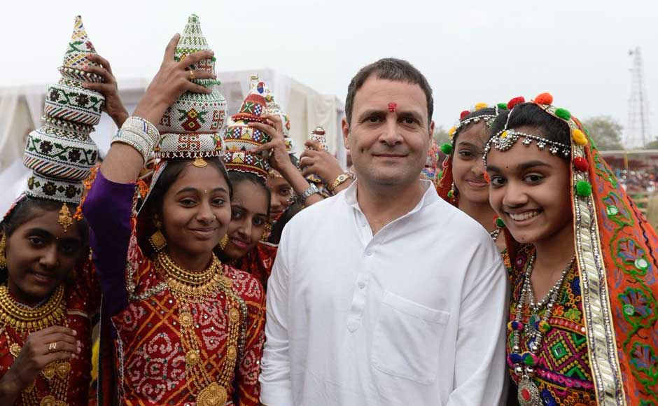 With the weather turning rough due to CycloneOckhi, Congress vice-president Rahul Gandhi had to postpone three out of his four public rallies scheduled for Tuesday. Rahul poses with girls in traditional attire in Kutch. Twitter @INCIndia