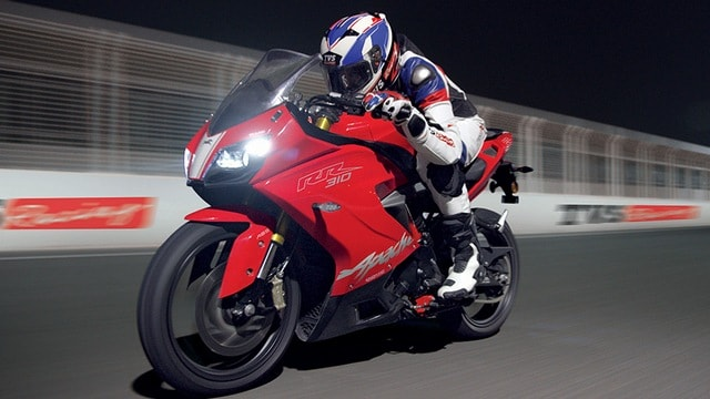 The riding position on the TVS Apache RR 310 is not as committed as traditional supersport machines and is more upright and comfortable. Image: TVS Apache