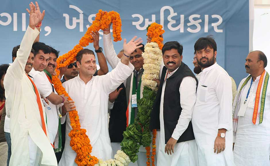 Rahul was to address four election rallies ahead of the 9 and 14 December Assembly polling, including a public meeting at the Town Hall Ground in Anjar in Kutch district followed by another in Morbi district. Rahul being garlanded at a campaign rally at Anjar in Kutch. PTI