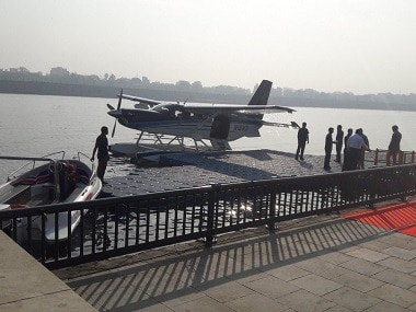 Prime Minister Narendra Modi travelled from a sea-plane from Sabarmati river in the city to Dharoi dam in Mehsana district. Twitter/BJPGujarat