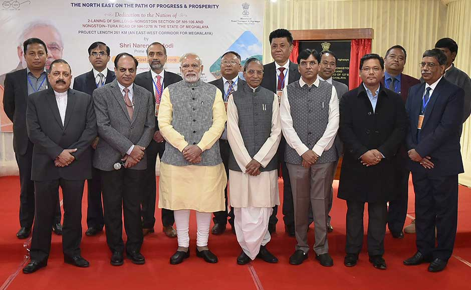 In Meghalaya, Modi announced Rs 90,000 crore for improving roads and national highways in the North East over the next two-three years to improve connectivity. Modi with other leaders during the inauguration of the Shillong-Nongstoin-Rongjeng-Tura Road in Aizawl. PTI