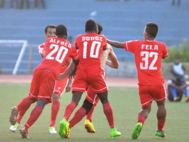 Aizawl FC players celebrate after scoring against Churchill Brothers. Image Courtesy: Twitter @ILeagueOfficial