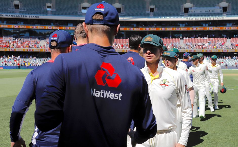 Australia's captain Steve Smith shakes hands with England players after winning the second Ashes Test match. Reuters