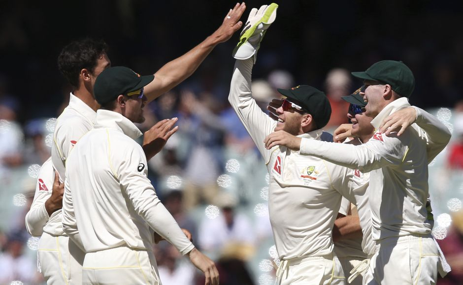 Australian players celebrate after winning the Adelaide Test. They will next head to Perth with a 2-0 lead with three matches left to play. AP