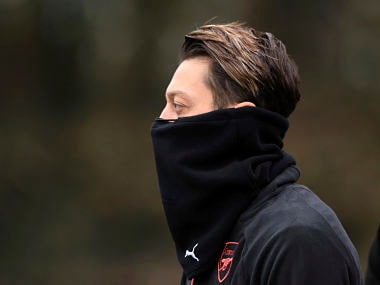 Arsenal's Mesut Ozil during a training session at the team's training ground ahead of Arsenal's fixture against Bate in a Europa League group game. AP