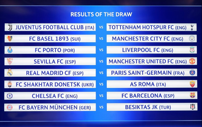 A picture shows a screen displaying the fixtures after the draw for the round of 16 of the Champions League. AFP