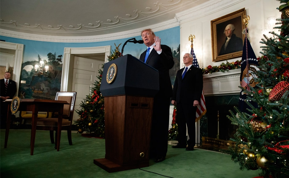 Defying dire, worldwide warnings, Trump insisted that after repeated peace failures it was past time for a new approach, starting with what he said was his decision merely based on reality to recognise Jerusalem as the seat of Israel's government. AP
