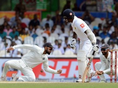 India's captain Virat Kohli (L) drops a catch off Sri Lanka's Angelo Mathews during the third day of the second Test against Sri Lanka and India at the Sinhalese Sports Club (SSC) Ground in Colombo on 5 August, 2017. AFP