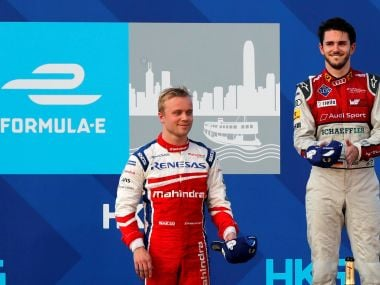 Mahindra's Felix Rosenqvist ABT Schaeffler Audi Sport's Daniel Abt react after the race. Reuters
