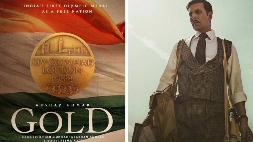 Poster of Reema Kagti's Gold (left); Akshay Kumar's look in the film. Images via Facebook
