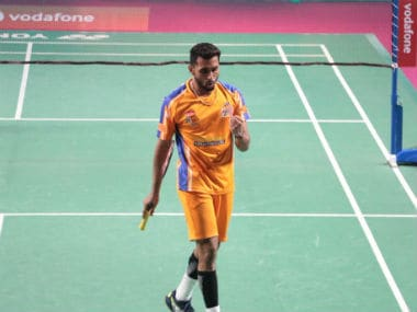 HS Prannoy in action during the tie between Ahmedabad Smash Masters and North Eastern Warriors. Image courtesy: Twitter/@PBLIndiaLive