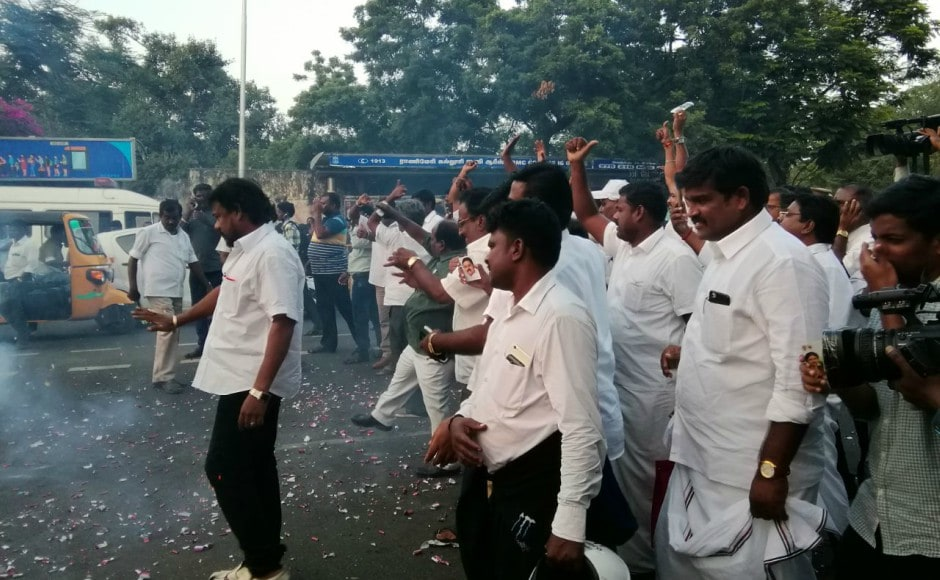 As his lead grew through the day, followers of Dhinakaran celebrated while the AIADMK's headquarters wore a deserted look. Image courtesy: Ayswarya Murthy