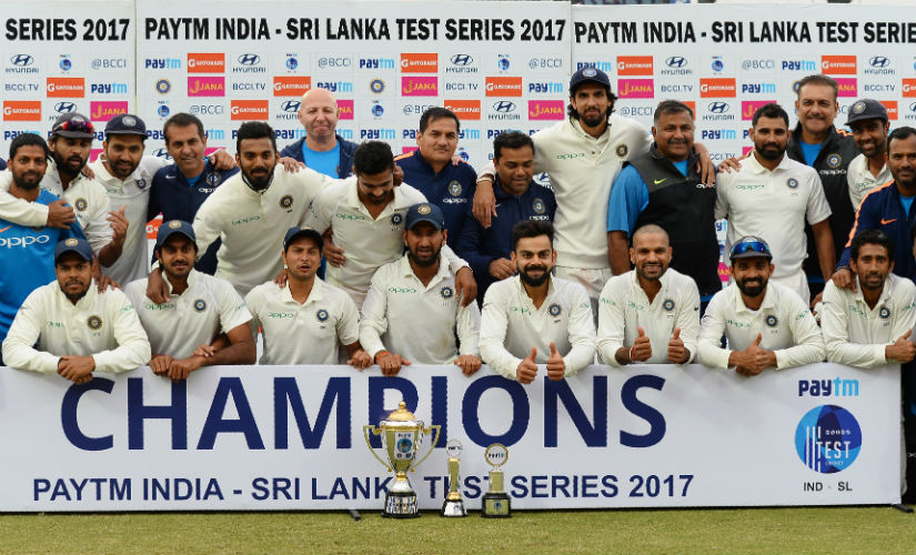 India won the home Test series against Sri Lanka 1-0, their ninth on the trot. AFP
