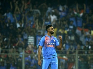 File image of Jaydev Unadkat celebrating the dismissal of Sri Lanka's Upul Tharanga in Mumbai. AP