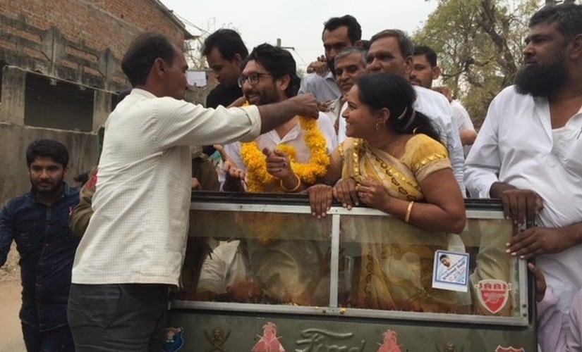 Jignesh Mewani during a road show at Valsad. Firstpost/Amitesh