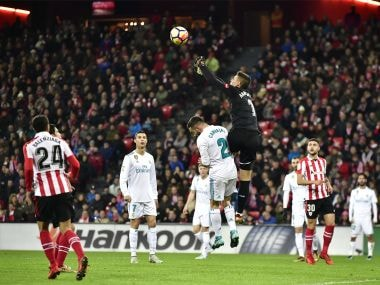 File image of Athletic Bilbao's goalkeeper Kepa Arrizabalaga, pushes the ball beside Real Madrid's Daniel Carvajal during a La Liga match. AP