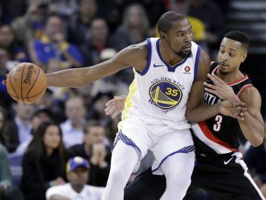 Golden State Warriors' Kevin Durant in action during the game against Portland Trail Blazers. AP