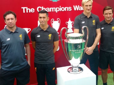 Former Liverpool players Robbie Fowler, Luis Garcia, Sami Hyypia and Vladimir Smicer pose for a photo in Mumbai. Image Courtesy Firstpost/Anish Anand