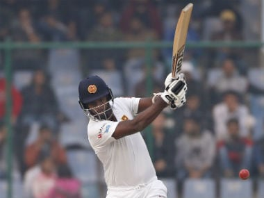 Sri Lanka's Angelo Mathews play a shot during Day Two's play. AP