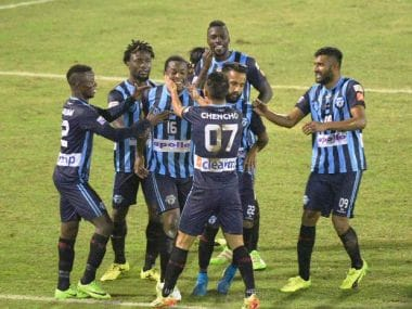 File photo of Minerva Punjab team celebrating. Twitter/ILeagueOfficial