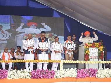 Prime Minister Narendra Modi addresses a rally in Bharuch. Twitter @BJP4India