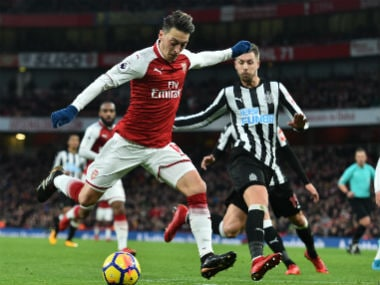 Arsenal's Mesut Ozil in action against Newcastle United. AFP