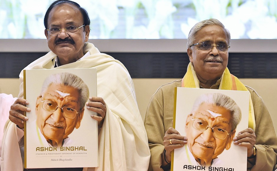 Vice-President M Venkaiah Naidu and RSS' 'sarakaryavah' Suresh Joshi at the release of a book on late VHP chief Ashok Singhal titled 'Ashok Singhal: Staunch and Perseverant Exponent of Hindutva' by the author Mahesh Bhagchandka in New Delhi on Thursday. PTI