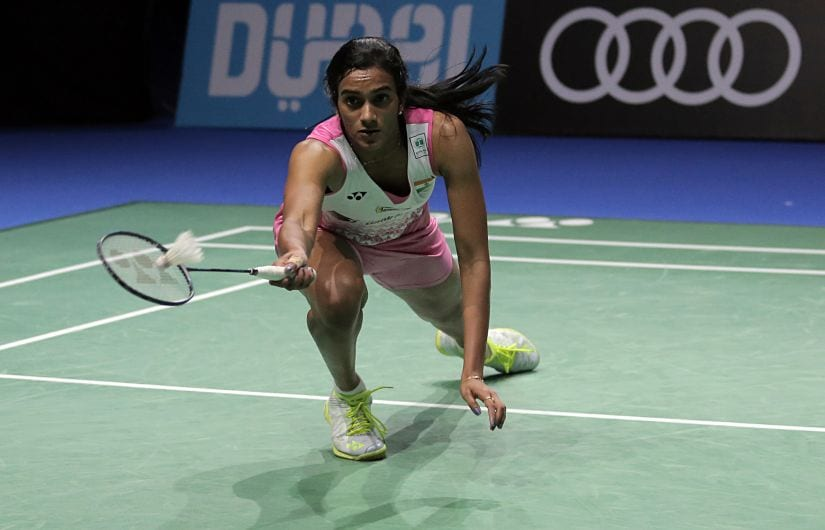 India's PV Sindha returns a shot to Japan's Akane Yamaguchi during the Dubai World Superseries Finals. AFP