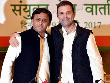 A file photo of former chief minister Akhilesh Yadav with Rahul Gandhi. PTI