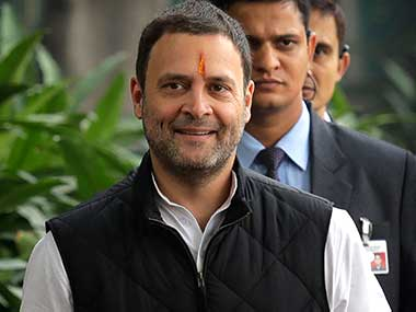 Congress party vice-president Rahul Gandhi arrives to file his nomination papers at the party headquarters, in New Delhi. AP