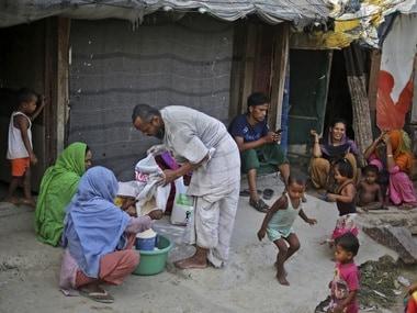 A Rohingya refugee camp in New Delhi. AP