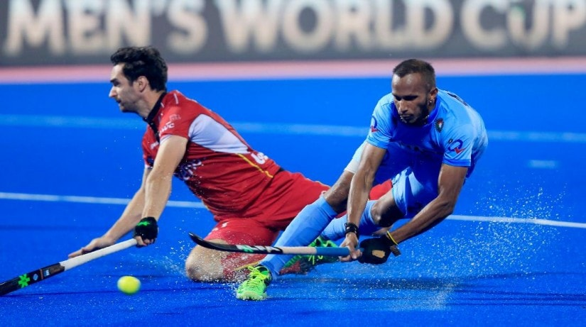India's SV Sunil in action against Belgium during the quarter-final of the Hockey World League Final. Firstpost
