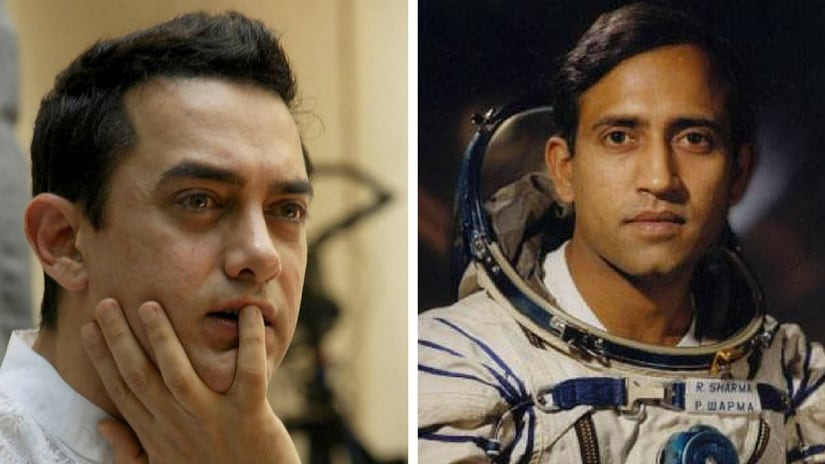 Aamir Khan (left); Rakesh Sharma (right). Images via Facebook