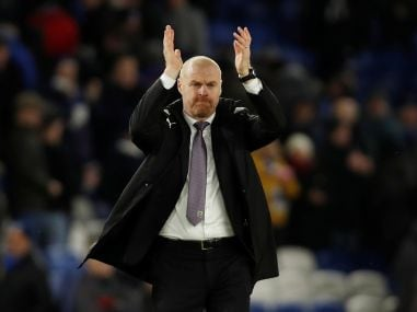 Burnley manager Sean Dyche applauds the fans after the match. Reuters