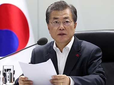 South Korea president Moon Jae-in says denuclearisation of Korean peninsula is 'the path to peace'