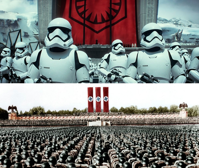 (Above) Stormtroopers in a scene from Star Wars: The Force Awakens. (Below) Nazis at a Nuremberg rally. AP