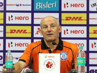 Jamshedpur FC coach Steve Coppell during a press conference. Image courtesy: ISL/Sportzpics