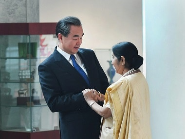 Minister for External Affairs Sushma Swaraj and her Chinese counterpart  Wang Yi. PTI