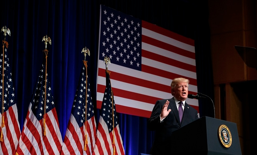 Donald Trump speaks on national security in Washington on Monday. AP